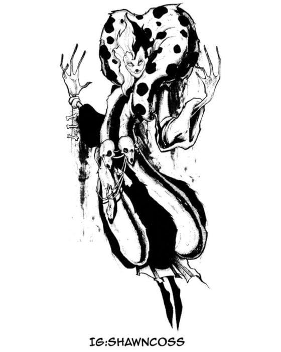 Ilustrador Shawn Coss dibujó a los villanos de Disney más sombríos; Cruella de Vil de 101 dálmatas
