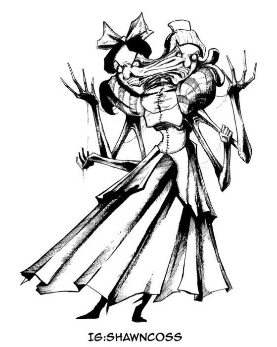 Ilustrador Shawn Coss dibujó a los villanos de Disney más sombríos; las hermanastras de Cenicienta