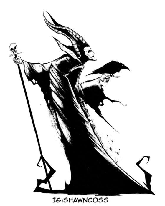 Ilustrador Shawn Coss dibujó a los villanos de Disney más sombríos; Maléfica de La bella durmiente
