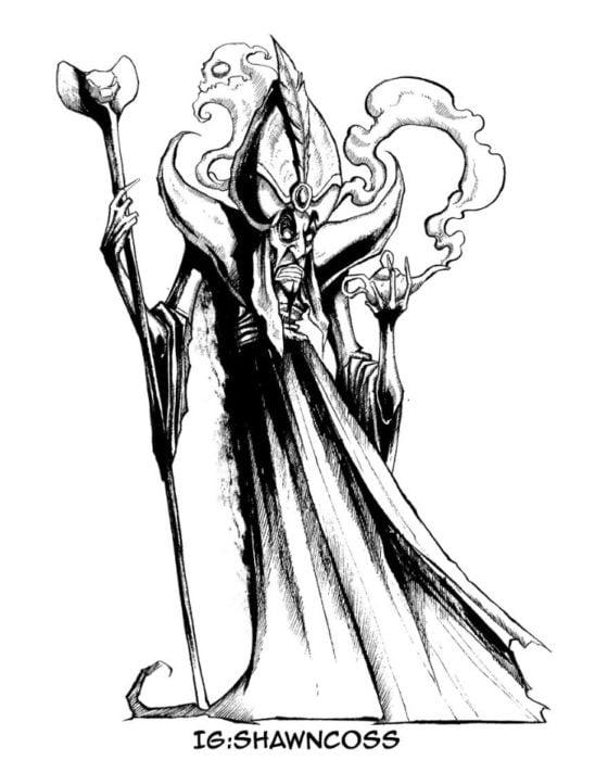 Ilustrador Shawn Coss dibujó a los villanos de Disney más sombríos; Jafar de Aladdín y la lámpara mágica