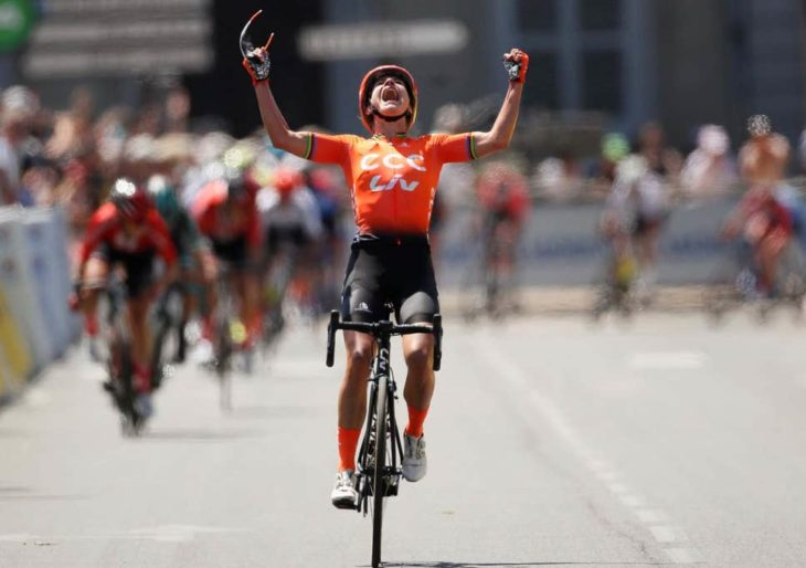 Marianne Vos tras llegar a la meta en La Course