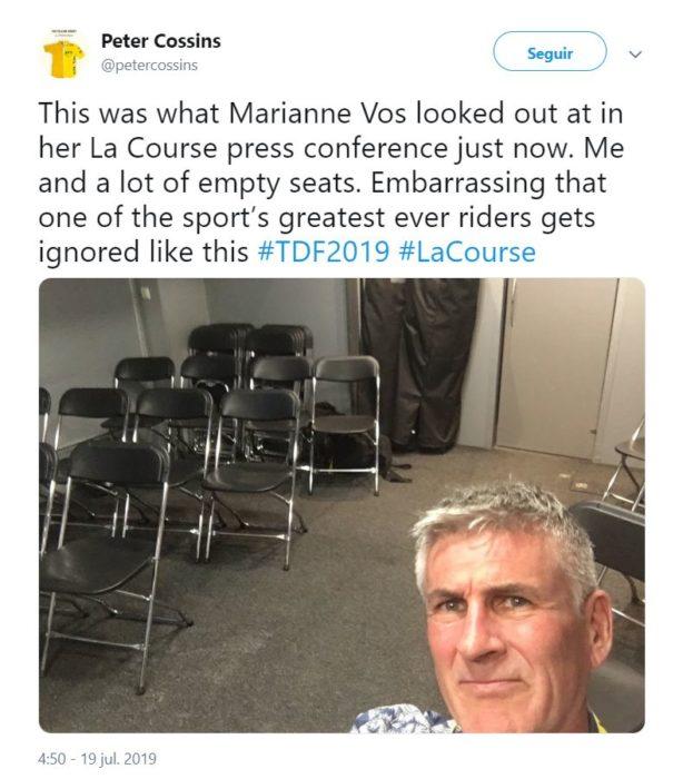 Tuit de Peter Cossins en donde denuncia que solo él asistió a la rueda de prensa de Marianne Vos