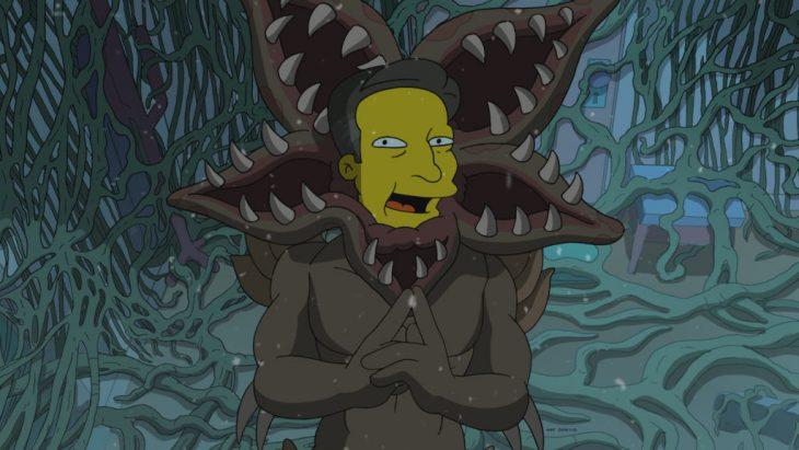 Ilustración de Los Simpson parodiando a Ted Sarandos, director de contenidos de Netflix como el Demogorgon de Stranger Things