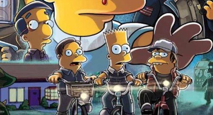 Ilustración de Rafa, Bart y Nelson de Los Simpson parodiando a Mike, Dustin y Lucas de Stranger Things