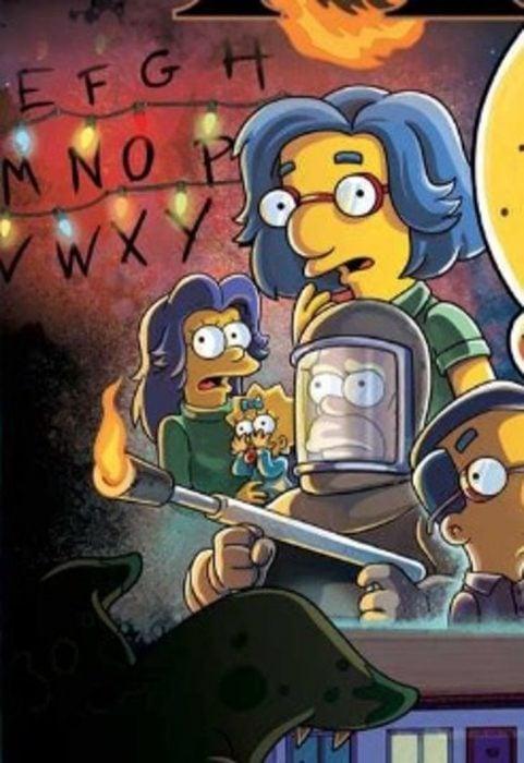 Ilustración de Los Simpson parodiando a Winona Ryder en Stranger Things