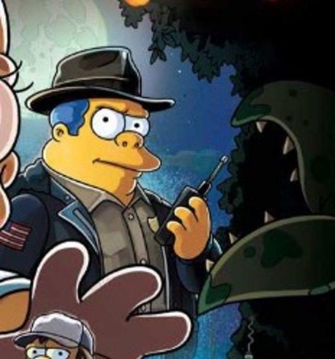 Ilustración de Los Simpson parodiando a David Harbour como Hopper en Los Simpson