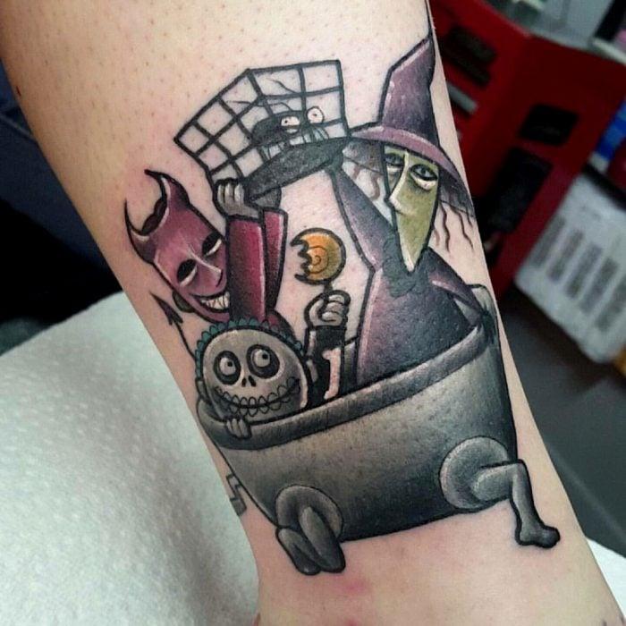 Tatuaje de halloween, los trick or treaters, niños Boogie, Lock, Shock y Barrel de El extraño mundo de Jack, Pesadilla antes de Navidad