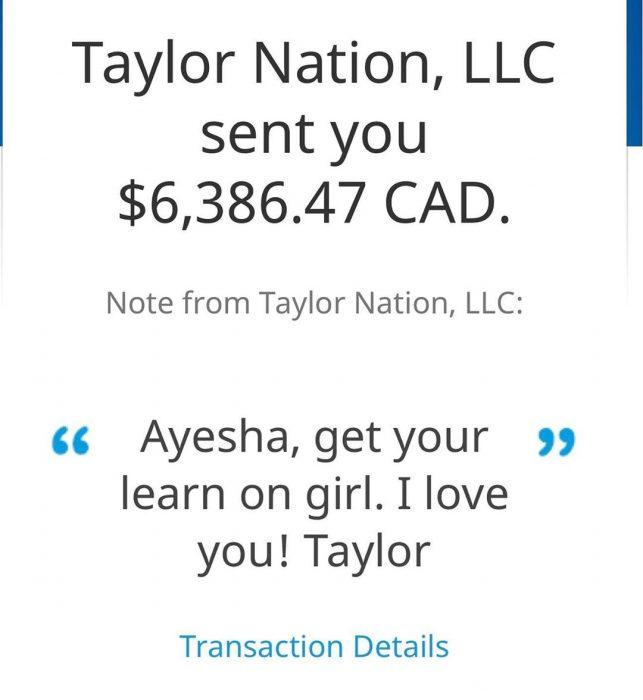 Evidencia de que Taylor Swift pagó la matricula escolar de Ayesha Khurram