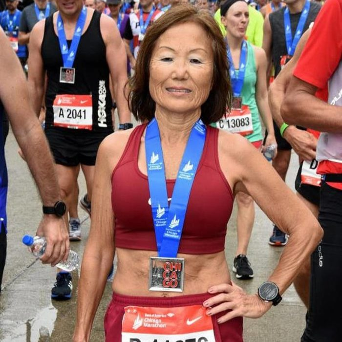 Jeannie Rice en la maratón de Chicago en 2018