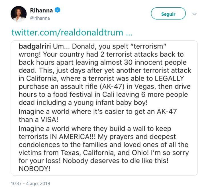 Tuit de Rihanna por tiroteos en Estados Unidos
