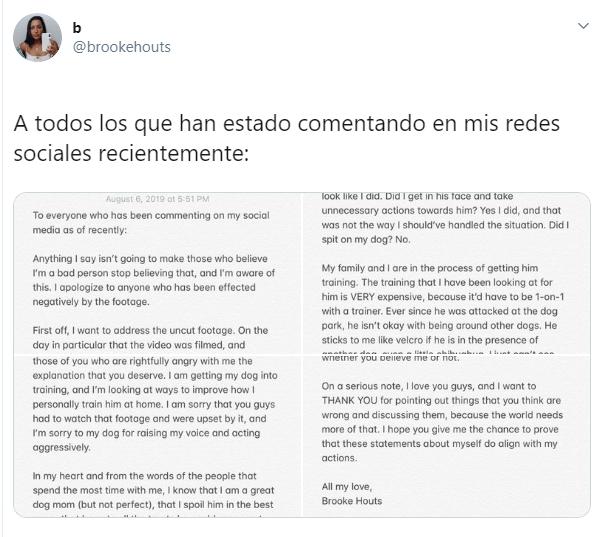 Carta que envió una youtuber en su cuenta de Twitter para aclarar el maltrato hacia su perro