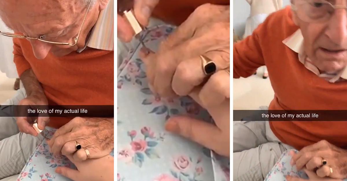 Abuelito pinta las uñas de su nieta hospitalizada y se vuelve viral