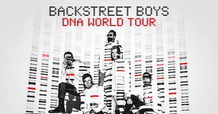 Nick Carter, Kevin Richardson, Brian Littrell, AJ y Howie Dorough posando para una foto promocional de los Backstreet Boys
