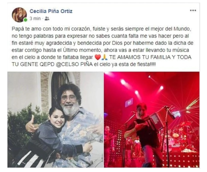 Hija confirma muerte de Celso Piña en facebook