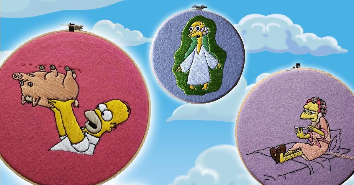 20 Escenas de 'Los Simpson' bordadas con hilasa
