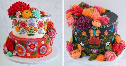 Cocina pasteles que parecen haber sido decorados con agujas e hilo