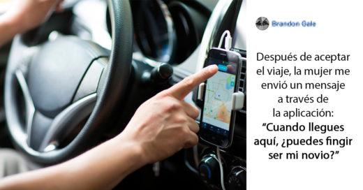 Conductor de Uber finge ser el novio de una pasajera y le salva la vida