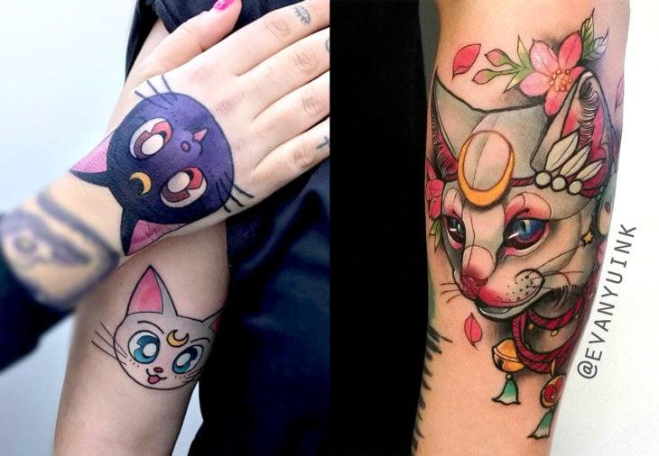 Tatuajes de Sailor Moon; tatuaje de gatos Luna y Artemis