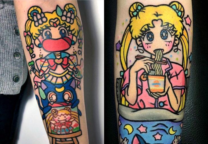 Tatuajes de Sailor Moon; tatuaje de Serena Tsukino comiendo y con la gata Luna