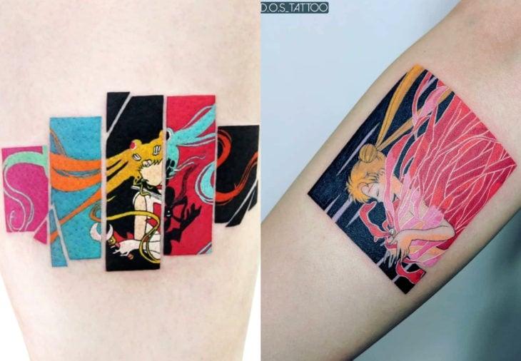 Tatuajes de Sailor Moon; tatuaje de Serena Tsukino transformándose