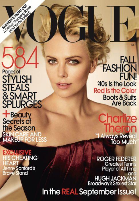 Acontecimientos de la cultura pop que sucedieron en septiembre del 2009; Charlize Theron en portada de Vogue