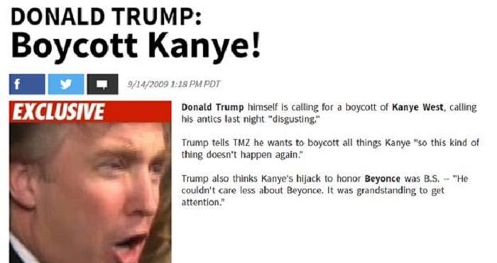 Acontecimientos de la cultura pop que sucedieron en septiembre del 2009; Donald Trum quiso boicotear a Kanye West