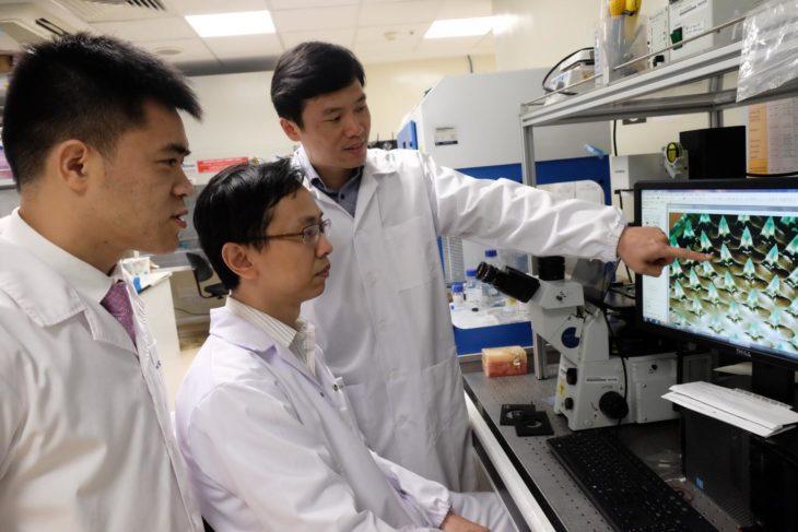 tres hombres con bata en un laboratorio revisando algo en una computadora