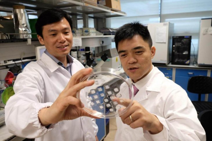 dos hombres con bata en un laboratorio muestran un círculo de vidrio con unos adhesivos pegados sobre él
