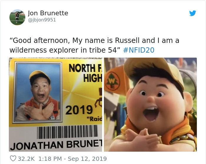 Niño vestido como Rusell de la película Up, Disney