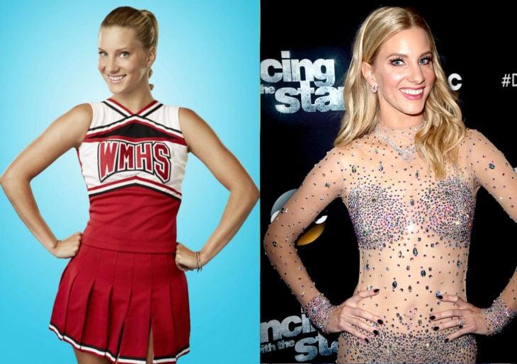 Heather Morrisen 2009 con el uniforme de la serie glee y en 2019 en bailando con las estrellas