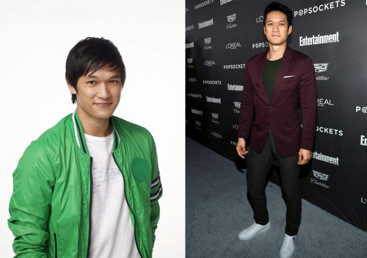 Harry Shum Jr.en 2009 durante la serie de glee y después en 2019 durante una alfombra roja