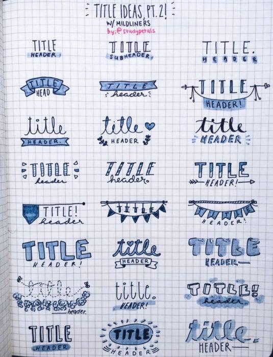 Apuntes bonitos en libretas para estudiar en la escuela; títulos con letra creativa