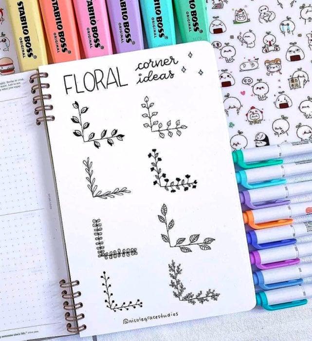 Apuntes bonitos en libretas para estudiar en la escuela; dibujos de plantas al borde de la hoja