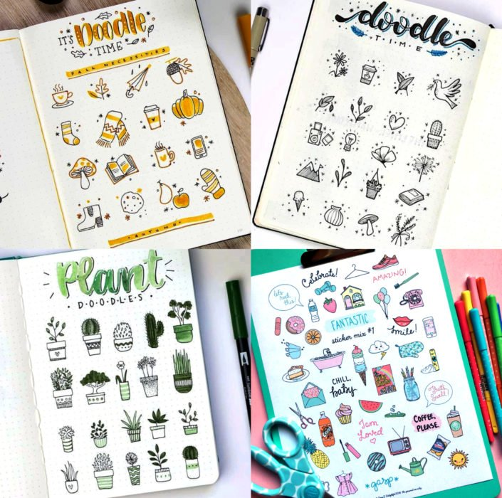 Apuntes bonitos en libretas para estudiar en la escuela; dibujos o doodles