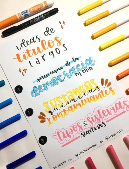 Apuntes bonitos en libretas para estudiar en la escuela; título con letra creativa