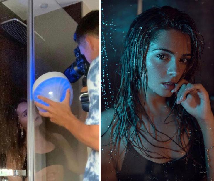 toma final y detrás de cámara de Kai Böttcher usando una luz especial para darle calidez a su toma que hace con el filtro de una puerta de vidrio de un baño para captar gotas de agua