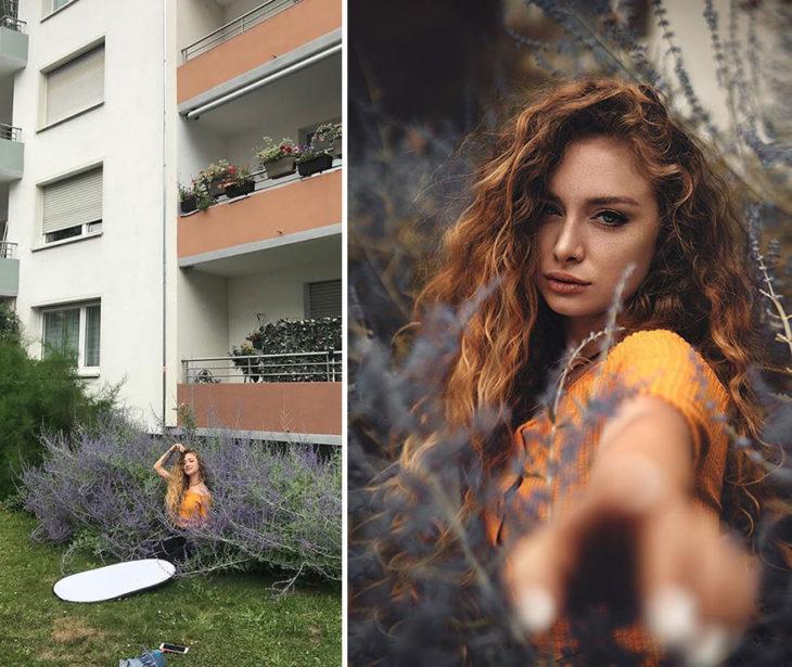 toma final y detrás de cámara de Kai Böttcher con la modelo entre unos arbustos para hacer efecto de que se encuentra en un lugar hecho de ramas