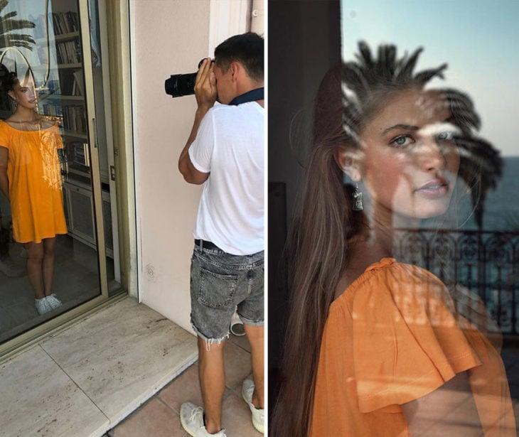 toma final y detrás de cámara de Kai Böttcher usando una puerta de cristal como filtro para captar reflejos