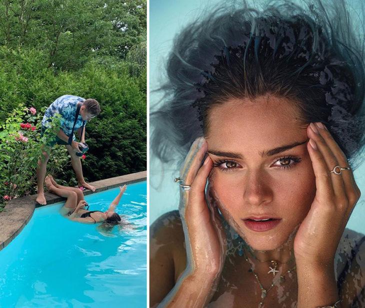 toma final y detrás de cámara de Kai Böttcher con una modelo acostada en una alberca para dar el efecto en la foto de que su cara emerge del agua