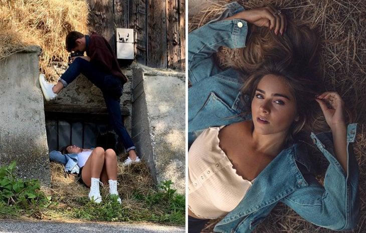 toma final y detrás de cámara de Kai Böttcher sobre una barda para captar en una toma desde arriba a su modelo acostada sobre paja