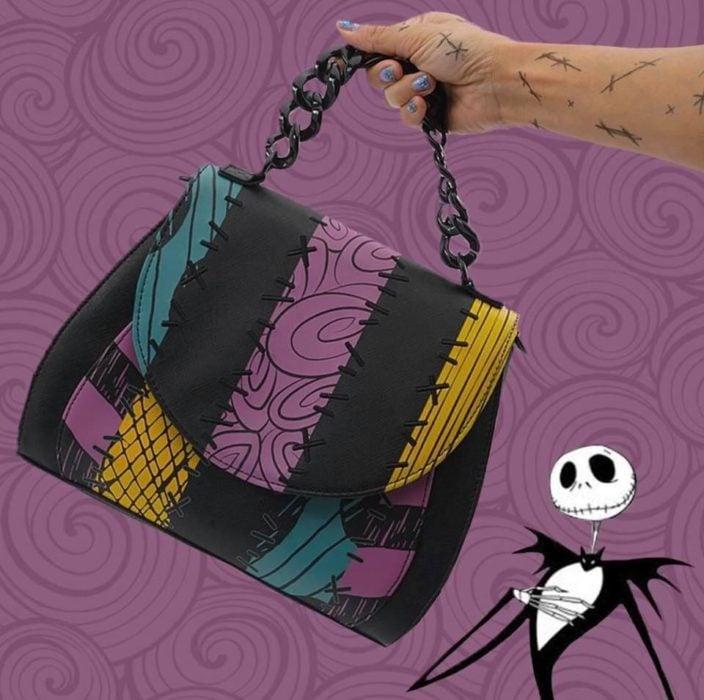 Bolso de mano, negro, verde, lila, mostaza, inspirado en Zally, El extraño mundo de Jack