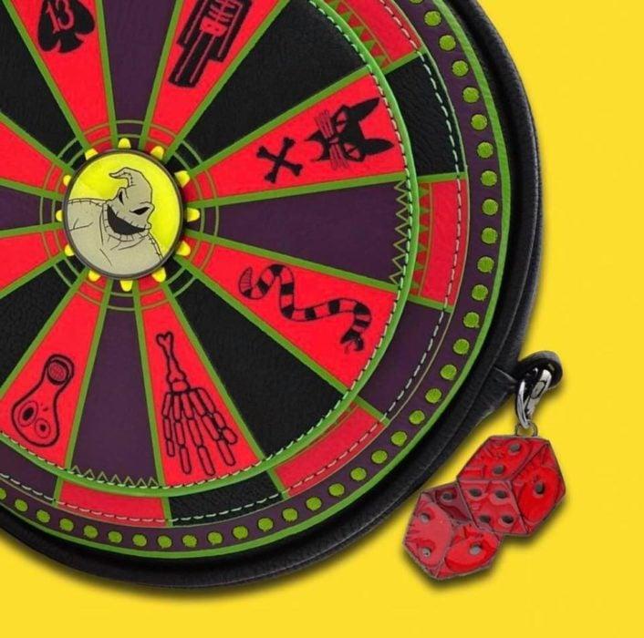 Bolso redondo, rojo, negro, morado, inspirado en El extraño mundo de Jack