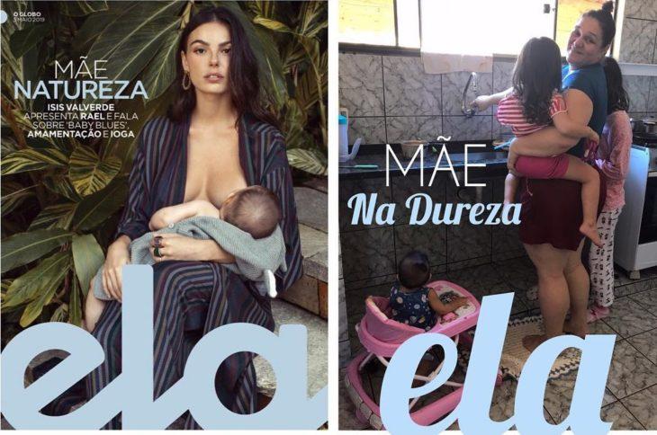 Renata Neia imita una portada de revista en donde hay una mujer amamantando a su hijo, pero ella la hace sosteniendo a su hija y con la otra hija a un lado