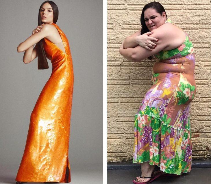 Renata Neia imita a una modelo que posa con un vestido naranja largo y curvea su cuerpo