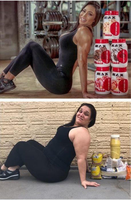 Renata Neia imita una foto de una modelo con suplementos deportivos