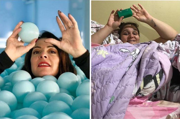 Renata Neia imita una foto en donde una mujer está cubierta por pelotas de plástico