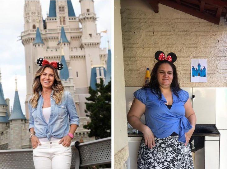 Renata Neia imita una foto de una mujer con orejas de Minnie Mouse y con el fondo de un castillo de Disney
