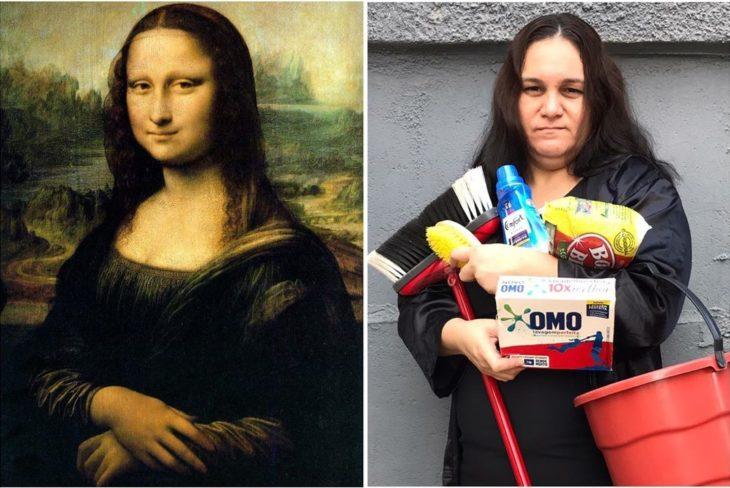 Renata Neia imita a la Monalisa pero sostiene productos de limpieza