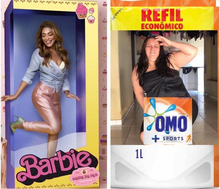Renata Neia imita una foto de una mujer que aparenta estar dentro de una caja de Barbie