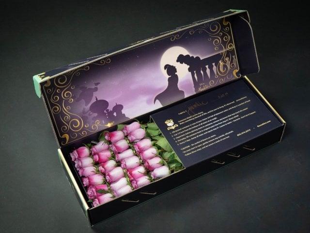 Caja de rosas de Rosehire inspirada en Aladdín
